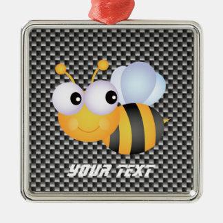 Cute Bee; Sleek Square Metal Christmas Ornament