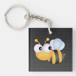 Cute Bee; Sleek Double-Sided Square Acrylic Keychain