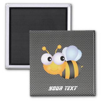 Cute Bee; Sleek Square Magnet