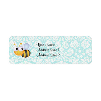 Cute Bee; Teal Damask Pattern
