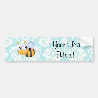 Cute Bee; Teal Damask Pattern Car Bumper Sticker