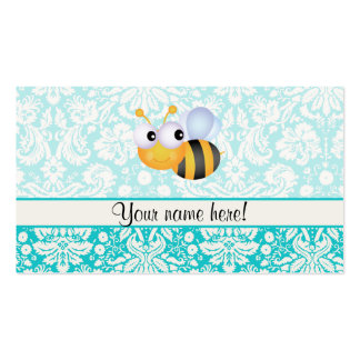 Cute Bee; Teal Damask Pattern Business Card Templates