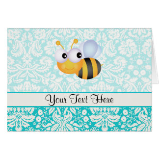 Cute Bee; Teal Damask Pattern Cards