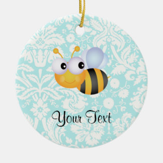 Cute Bee; Teal Damask Pattern Double-Sided Ceramic Round Christmas Ornament