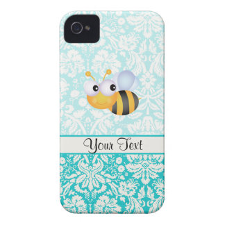 Cute Bee; Teal Damask Pattern iPhone 4 Case