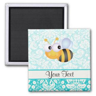 Cute Bee; Teal Damask Pattern Fridge Magnets
