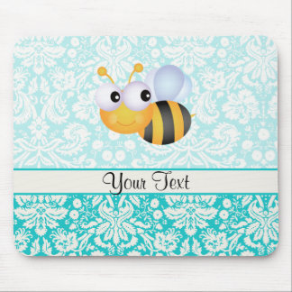 Cute Bee; Teal Damask Pattern Mouse Pad