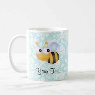 Cute Bee; Teal Damask Pattern Mugs