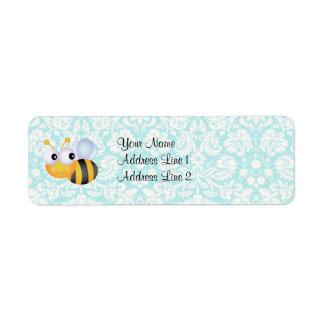 Cute Bee; Teal Damask Pattern Return Address Label