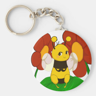 Cute Bee with flowers Basic Round Button Key Ring