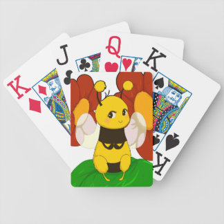 Cute Bee with flowers Bicycle Playing Cards