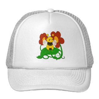 Cute Bee with flowers Cap