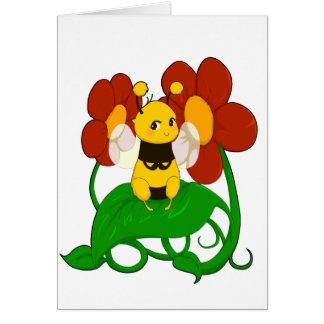 Cute Bee with flowers Cards