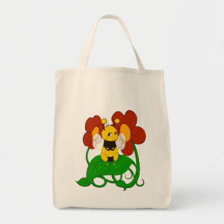 Cute Bee with flowers Grocery Tote Bag