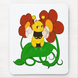 Cute Bee with flowers Mouse Pads
