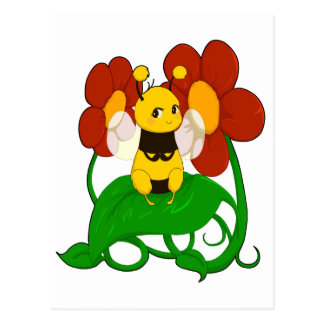 Cute Bee with flowers Postcard