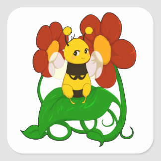 Cute Bee with flowers Square Sticker