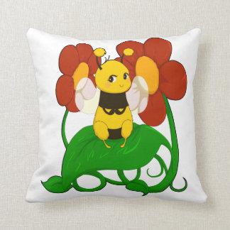 Cute bee with flowers throw cushion