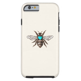 Cute Bee with Turquoise Blue Heart Nature Tough iPhone 6 Case