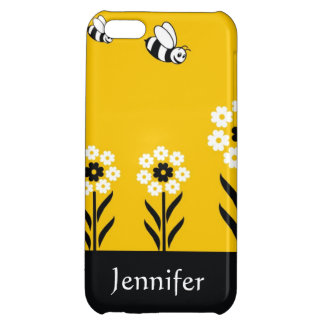 Cute Bees And Flowers - Custom Name iPhone 5C Cases