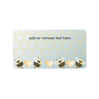Cute Bees Honey Hearts Address Label