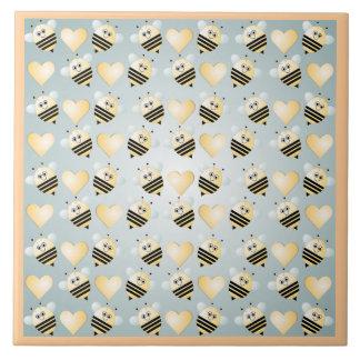 Cute Bees Honey Hearts Ceramic Tile
