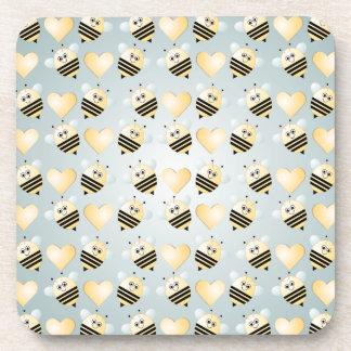 Cute Bees Honey Hearts Cork Coaster