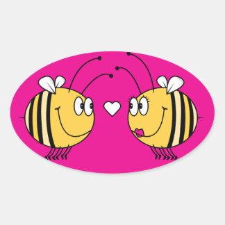 cute bees in love oval sticker