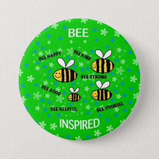 """""""Cute bees"""" inspirational words 7.5 Cm Round Badge"""