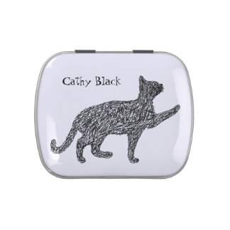 Cute begging cat sketch black and white drawing jelly belly tin