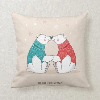 Cute Beige Christmas Polar Bears Throw Pillow