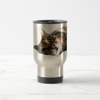 Cute Bengal Cat in Bed Picture Stainless Steel Travel Mug