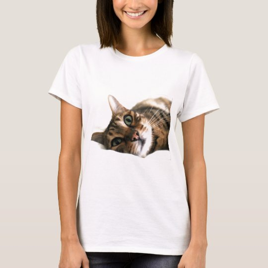 Cute Bengal Cat in Bed Picture T-Shirt