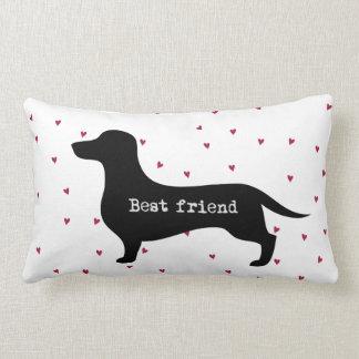 Cute Best Friend dachshund silhouette with hearts Lumbar Cushion