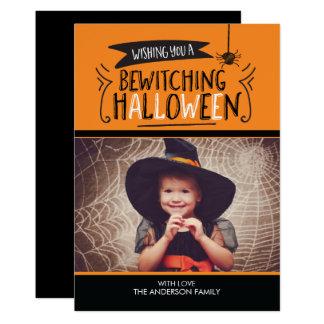 Cute Bewitching Halloween Photo Card 13 Cm X 18 Cm Invitation Card