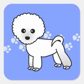 Cute Bichon Frise Cartoon - Blue Square Sticker
