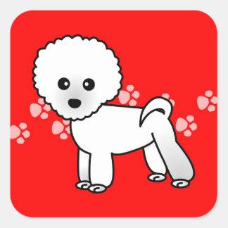 Cute Bichon Frise Cartoon Square Sticker