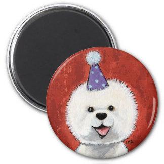 Cute Bichon Frise Party Dog Illustration 6 Cm Round Magnet