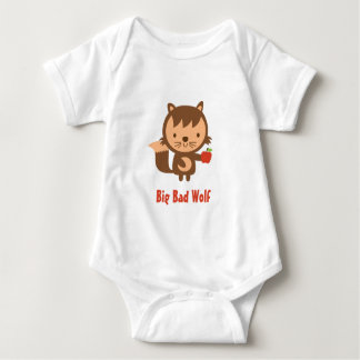 Cute Big Bad Wolf with Apple for Kids Baby Bodysuit