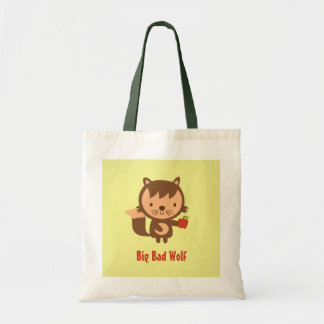 Cute Big Bad Wolf with Apple for Kids Tote Bag