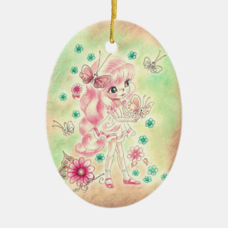 Cute Big Eye Girl with Pink hair & Butterflies Christmas Ornament
