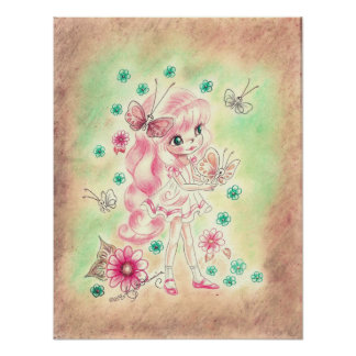 Cute Big Eye Girl with Pink hair & Butterflies Poster