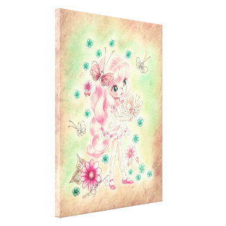 Cute Big Eye Girl with Pink hair & Butterflies Stretched Canvas Prints