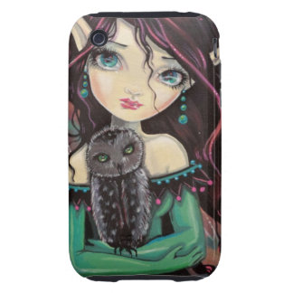 Cute Big-Eye Gothic Fairy and Owl iPhone 3 Tough Case