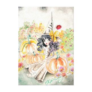 Cute Big Eye Halloween Witch in Pumpkin Patch Canvas Print