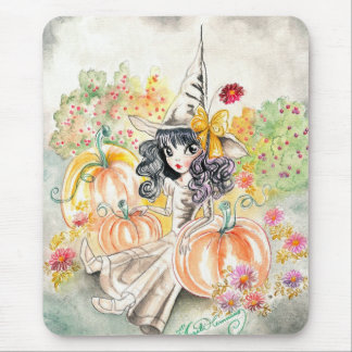 Cute Big Eye Halloween Witch in Pumpkin Patch Mouse Pad