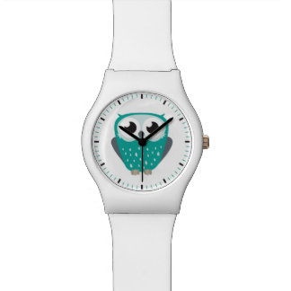 Cute Big Eyed Blue-Green Owl Illustration Wristwatch