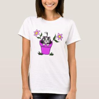 Cute Big Eyed Cat in Flower Pot T-Shirt