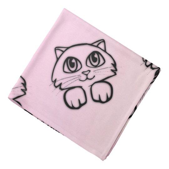 Cute Big Eyed Cat Peeking Pink Bandana