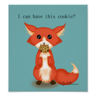Cute Big Eyed Fox Eating A Cookie Poster